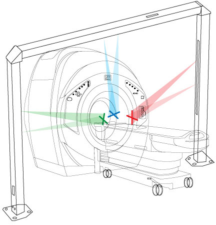 diagram of MAXX-1100 CT Room Laser Patient Positioning System